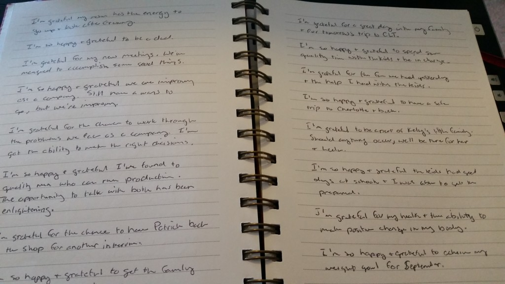 My actual journal. Pretty simple.